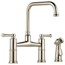 bridge faucets for kitchen bridge faucet with side sprayer 62525lf pn artesso kitchen