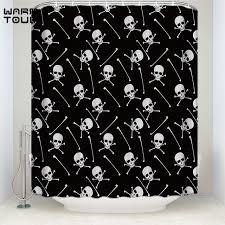 Black Bathroom Curtains Warm Tour Black Background Skull Pattern Decorative Fabric Shower
