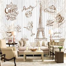 custom wall mural 3d retro letters wallpaper coffee cafe cake shop