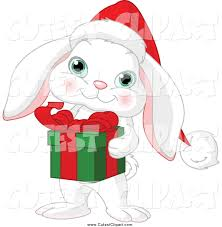 cartoon vector clip art of a cute white christmas bunny rabbit