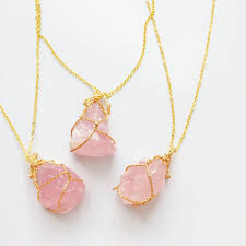 rock necklace jewelry images Rose quartz rock necklace vibrant souls jpeg