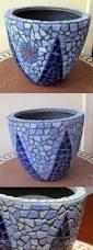 diy mosaic blue flower pot mosaik blumentopf mosaique pot de