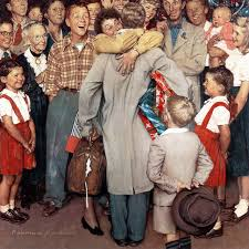 homecoming painting print on canvas by norman rockwell