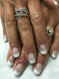 mother of the bride white french accented bling rhinestone gel