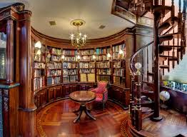 classic home interiors luxurious home library interior design ideas with curved wall open