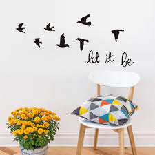 online get cheap decorative wall art stickers aliexpress dctop diy black flying birds vinyl wall sticker living room decals home decor poster wallpaper arts classical bird stickers