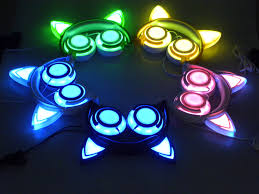 light up cat headphones free shipping glowing cat ear headphones cyberpunk headphones