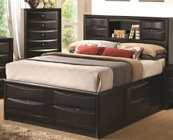 bedroom marvelous king u003e glossy black finish queen storage bed