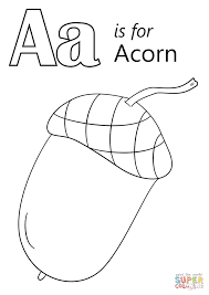 letter a is for acorn coloring page free printable coloring pages