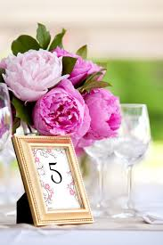 Pink And Gold Centerpieces by Pink Peony Wedding Centerpieces With Gold Frame Table Numbers