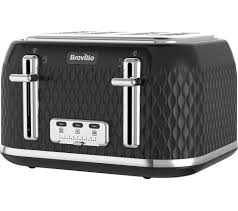 Toaster And Kettle Buy Breville Curve Vtt786 4 Slice Toaster Black Curve Vkt017