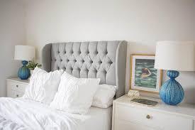 Wingback Tufted Headboard Bedroom Trendy Gray Velvet Tufted Wingback Headboard With White