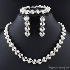 elegant necklace set images 2018 new elegant women imitation pearl jewelry sets silver jpg