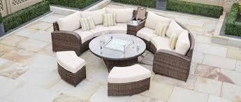 The Range Garden Furniture Arc 11 Half Moon Rattan Sofa Set With Coffee Table Gas Fire Pit