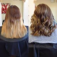 Dark Blonde To Light Blonde Ombre Before And After Of A Hair Transformation From Long Dark Hair To