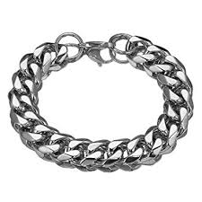 silver chain bracelet men images Mens stainless steel silver tone 15mm 10 quot heavy cuban curb link jpg