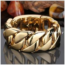 stainless steel gold plated bracelet images 22 24cm 32mm top design 316l stainless steel gold curb cuban chain jpg