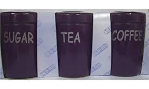 tea coffee sugar 3 piece plum purple 1 litre canister set storage