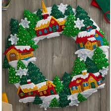 bucilla snow wreath felt applique kit 86686