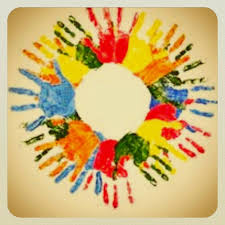 handprint art for teenage class he s got the whole world in his hands