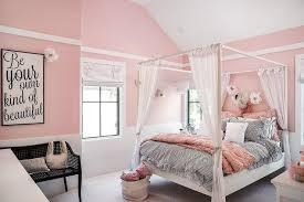 Pink Canopy Bed with Cotton Candy Pink Girly Bedroom With White Canopy Bed
