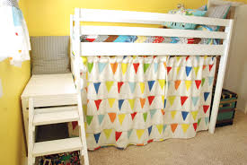 girls low loft bed diy jr camp loft bed with curtain do it yourself home projects