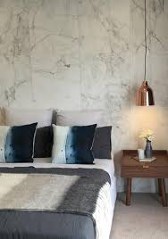 This Modern Bedroom Features Silk Silver Marble Effect by Shop Designer Wallpaper And Modern Wallpaper Designs Burke Decor
