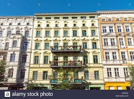 colorful renovated old houses in berlin germany stock photo