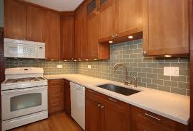 Pics Of Kitchen Backsplashes by Kitchen Backsplash With Oak Cabinets And White Appliances My