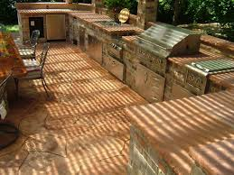 Outdoor Kitchen Ideas Mesmerizing Red Bricks Outdoor Kitchen Island Features Grey Color