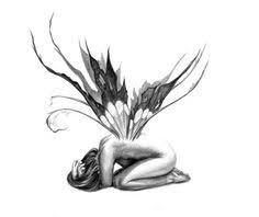 latet grey ink fallen angel tattoo stencil tattooshunter angel