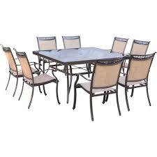 hanover fontana 9 piece aluminum square outdoor dining set with