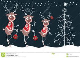 merry reindeer and christmas tree stock photography image 34708612
