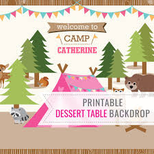 backyard camping tent party dessert table party backdrop for a