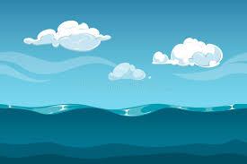 sea or landscape with sky and clouds seamless water