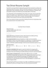 Great Sample Resume by Taxi Driver Cover Letter