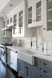 sink faucet grey and white kitchen backsplash mirror tile