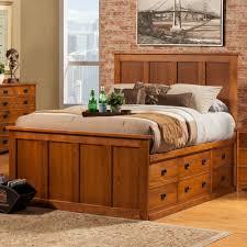 full size light brown varnished oak wood raised bed frame with