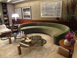 classy furniture design bad curved green fabric sofa plus very