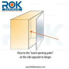 titus slim brushed nickel drawer cabinet door cross push touch latch