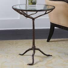 Bronze Accent Table Uttermost Sadira Cast Iron Accent Table Tempered Glass Top