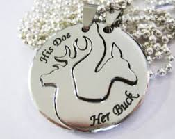 buck and doe couples necklace silver his buck and doe necklace hammered silver couples