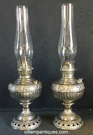 Tiny Table Lamps Tiny Juno Nickel Oil Lamp Pair Oil Lamp Antiques