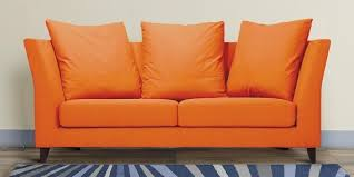 Buy Two Seater Sofa Buy Two Seater Sofa With Outward Curved Armrest In Orange Colour