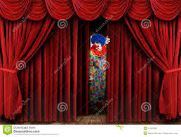 Curtain Drapes Creepy Clown Looking Through Stage Curtain Drapes Stock Photos
