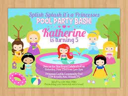 princess pool party birthday invitation