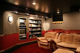 home theater ideas cool interior for home theater at basement with mini library idea