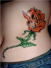 rib cage rose tattoo for girls