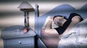 Man Sleeping In Bed Young Man Is Sleeping In The Morning When Ring The Alarm She