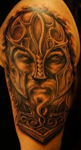 3d thor face tattoo design for shoulder by darius puodziukas